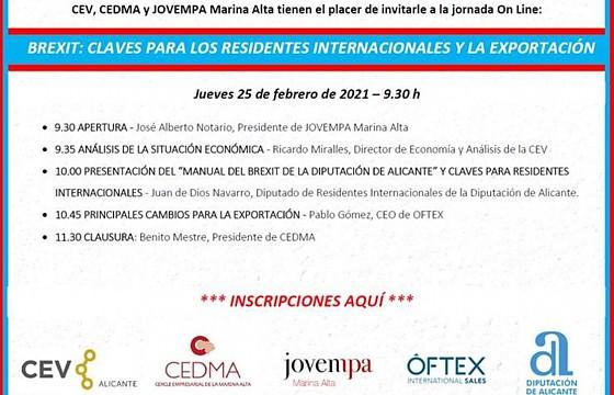 JORNADA BREXIT: CLAVES PARA LOS RESIDENTES INTERNACIONALES Y LA EXPORTACIÓN, el jueves 25 de febrero a las 9.30 horas.